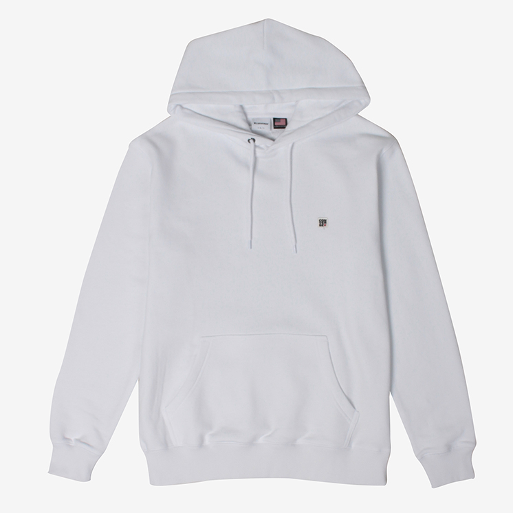 U.S.A Cotton ワッペン パーカー(U.S.A Cotton Cotton Wappen Hooded Sweat)白